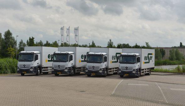 Koelvries carrosserie met multitemp conditionering op Mercedes Antos voor Euser Transport