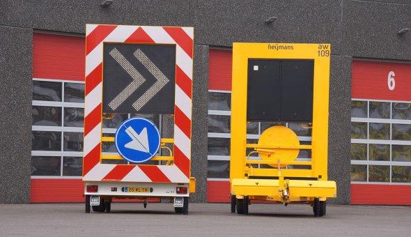 Chevronwagen op zonne-energie door middel van zonnepanelen Geleverd aan BUKO Infrasupport