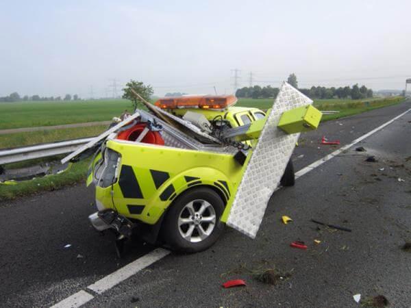 Ongeval met WIS-voertuig en gelukkig geen weginspecteur die gewond is geraakt