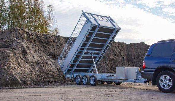 Kipper aanhangwagen 3.5 TON tripple asser voor Hoveniersbedrijf A. Terlouw