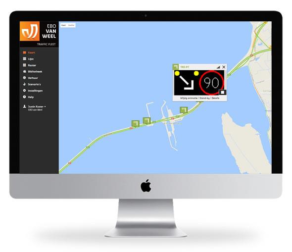 Mobiele rijstrook signalering aangestuurd met Traffic Fleet