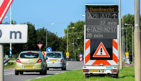 Real-time reistijd op tekstwagens voor wegwerkzaamheden A29