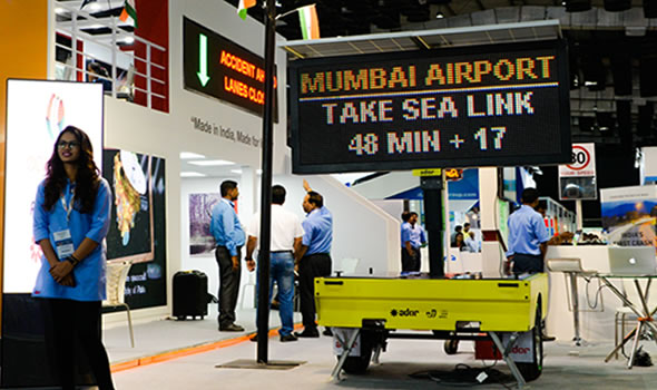 Realtime reistijd voor Mumbai Airport op tekstwagen