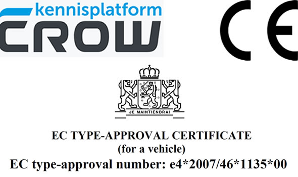 Arrow warning trailers approved with CE-marking, EC approcal and CROW-specifications