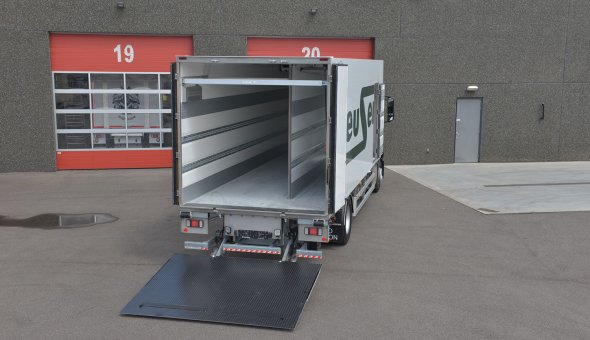 Custom built isothermal box body with compartments on Mercedes Atego trucks
